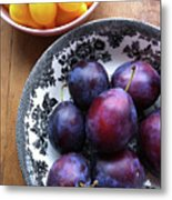 Yellow Cherry Tomatoes And Plums Metal Print by Laura Johansen