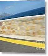 Yellow Line On A Coastal Road By Sea Metal Print by Sami Sarkis