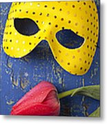 Yellow Mask And Red Tulip Metal Print by Garry Gay