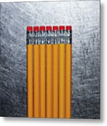 Yellow Pencils With Erasers On Stainless Steel. Metal Print by Ballyscanlon
