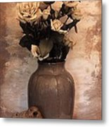 Yellow Tinted Roses Metal Print by Marsha Heiken