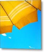 Yellow Umbrella With Sea And Sailboat Metal Print by Silvia Ganora