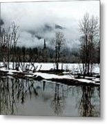 Yosemite River View In Snowy Winter Metal Print by Jeff Lowe