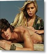 Young Beautiful Couple At The Beach Metal Print by Oleksiy Maksymenko