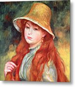 Young Girl With Long Hair Metal Print by Pierre Auguste Renoir