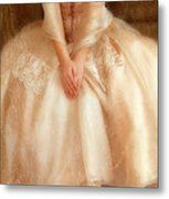 Young Lady Sitting In Satin Gown Metal Print by Jill Battaglia
