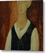 Young Man With A Black Waistcoat Metal Print by Amedeo Modigliani