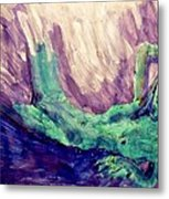 Young Statue Of Liberty Falling From Grace Female Figure Portrait Painting In Green Purple Blue Metal Print by MendyZ M Zimmerman