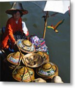 Boat Woman In Thailand Metal Print by Carl Purcell