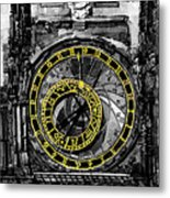 Bw Prague The Horologue At Oldtownhall Metal Print by Yuriy  Shevchuk