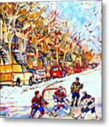 Hockey Game On Colonial Street  Near Roy Montreal City Scene Metal Print by Carole Spandau