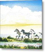 Indian Ponies Metal Print by Jerome Stumphauzer