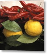 Lemons And Dried Red Peppers  For Sale Metal Print by Richard Nowitz
