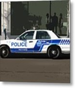 Montreal Police Car Poster Art Metal Print by Reb Frost