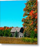 Old Barn In Fall Color Metal Print by Robert Pearson