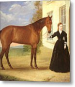 Portrait Of A Lady With Her Horse Metal Print by English School