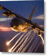 A C-130 Hercules Releases Flares Metal Print by HIGH-G Productions