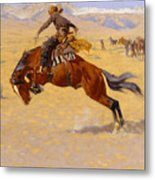 A Cold Morning On The Range Metal Print by Frederic Remington