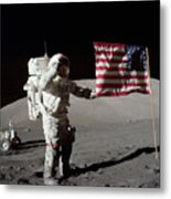Apollo 17 Astronaut Salutes The United Metal Print by Stocktrek Images