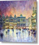 Belgium Brussel Grand Place Grote Markt Metal Print by Yuriy  Shevchuk