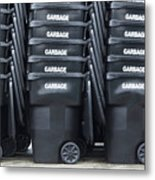 Black Garbage Bins Metal Print by Don Mason