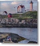 Cape Neddick Lighthouse Metal Print by David DesRochers