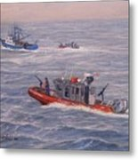 Coast Guard In Pursuit Metal Print by William H RaVell III