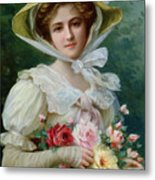 Elegant Lady With A Bouquet Of Roses Metal Print by Emile Vernon