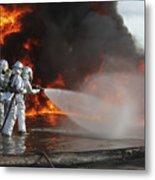 Firefighting Marines Battle A Huge Metal Print by Stocktrek Images