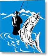 Fly Fisherman Catching Trout Metal Print by Aloysius Patrimonio