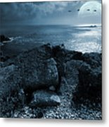 Fullmoon Over The Ocean Metal Print by Jaroslaw Grudzinski