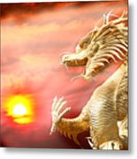 Giant Golden Chinese Dragon Metal Print by Anek Suwannaphoom