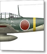 Illustration Of A Mitsubishi A6m2 Zero Metal Print by Inkworm