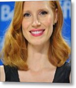 Jessica Chastain At The Press Metal Print by Everett