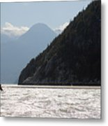 Kite Surfing The Spit In Squamish B.c Canada Metal Print by Pierre Leclerc Photography