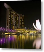 Marina Bay Sands Hotel And Artscience Museum In Singapore Metal Print by Zoe Ferrie