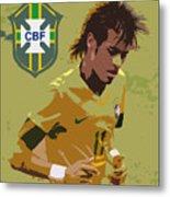 Neymar Art Deco Metal Print by Lee Dos Santos