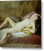 Nude Lying On A Chaise Longue Metal Print by Gustave-Henri-Eugene Delhumeau