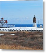 Point Judith Light Metal Print by Catherine Reusch  Daley