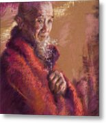 Portrait Of A Monk Metal Print by Ellen Dreibelbis