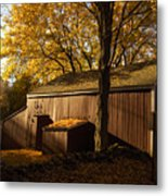 Red Barn At Dawn Metal Print by Joshua Francia