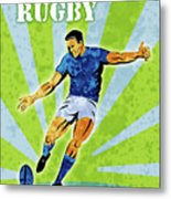 Rugby Player Kicking The Ball Metal Print by Aloysius Patrimonio