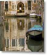 Venice Restaurant On A Canal  Metal Print by Gordon Wood