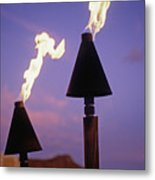 Waikiki, Tiki Torches Metal Print by Carl Shaneff - Printscapes