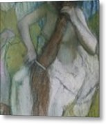 Woman Combing Her Hair Metal Print by Edgar Degas