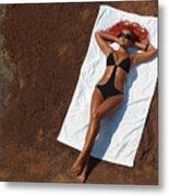 Woman Sunbathing Metal Print by Oleksiy Maksymenko
