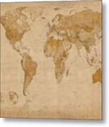 World Map Antique Style Metal Print by Michael Tompsett