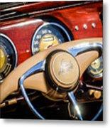 1941 Lincoln Continental Cabriolet V12 Steering Wheel Metal Print by Jill Reger