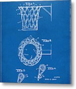 1951 Basketball Net Patent Artwork - Blueprint Metal Print by Nikki Marie Smith