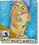 1952 Mickey Mantle Rookie Card Original Painting Metal Print by Joseph Palotas